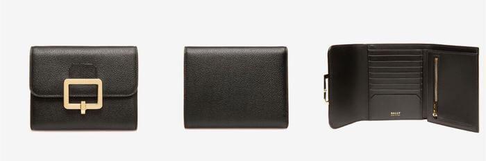 BALLY黑色壓紋牛皮法式短夾