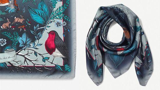 Aspinal of London robin 真絲圍巾