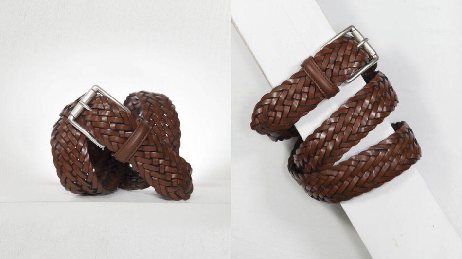 ANDERSONS編織棕色皮帶