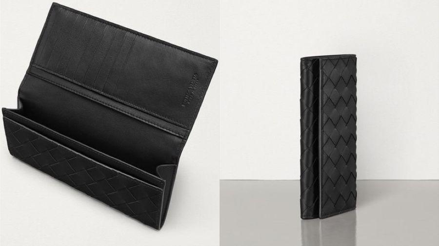 Bottega Veneta 黑色Intrecciato歐式長夾