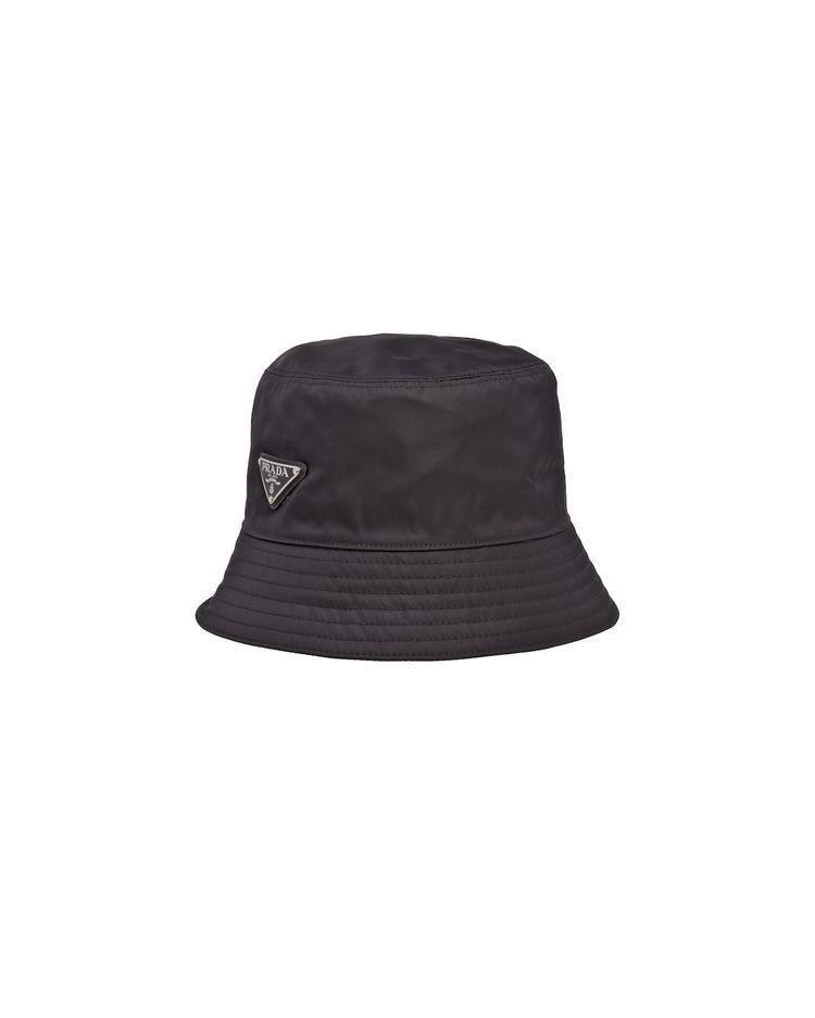 PRADA標誌尼龍水桶帽