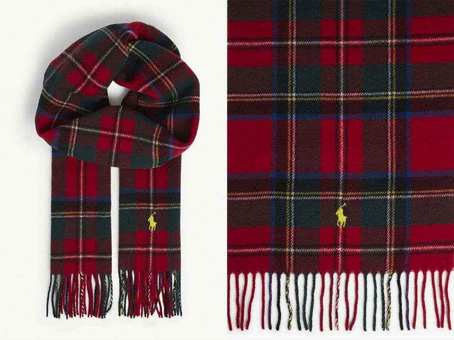 POLO RALPH LAUREN 格紋羊毛圍巾