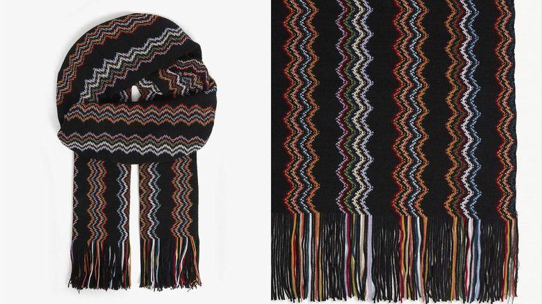 MISSONI 曲折圖案羊毛圍巾