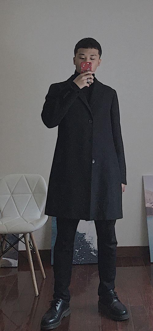 暗黑系大衣穿搭