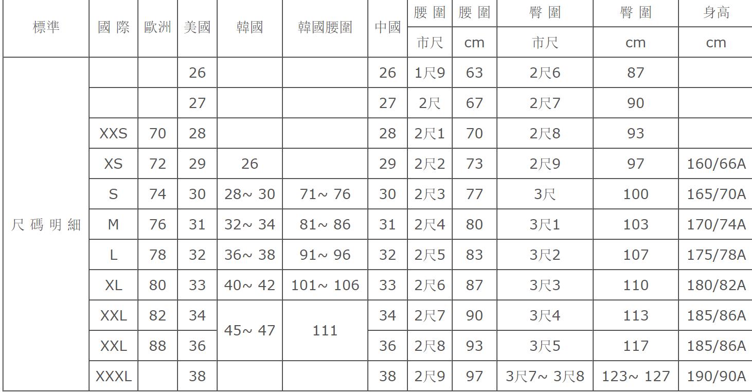 褲子尺寸換算表