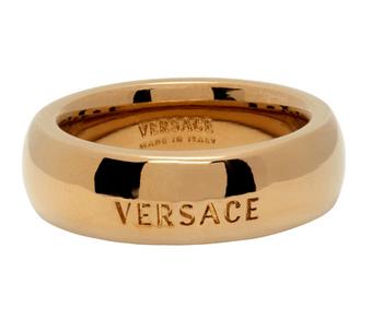 versace 金色雕花戒指