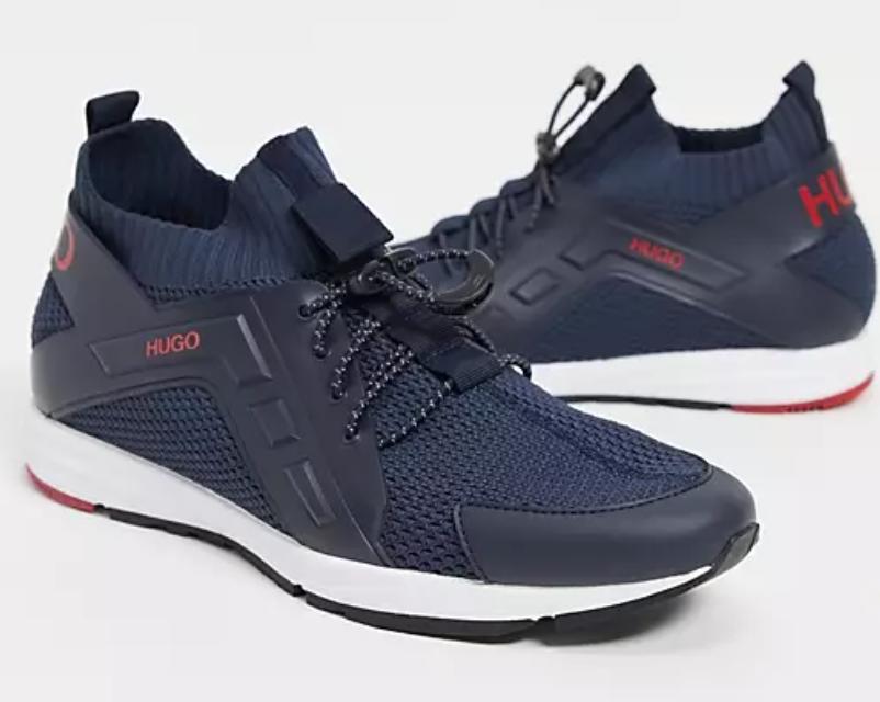 HUGO  Boss 藍色皮革襪套運動鞋