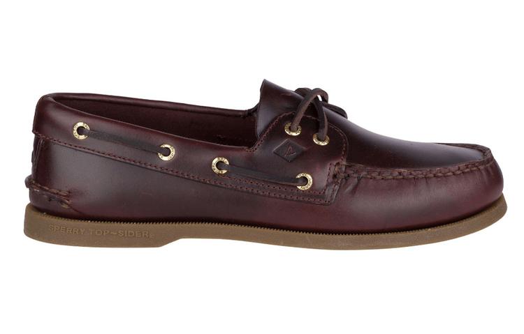 Sperry 酒紅色皮革帆船鞋