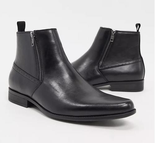 ASOS DESIGN 黑色仿皮拉鍊切爾西靴