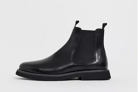 ASOS DESIGN 寬底黑色皮革切爾西靴