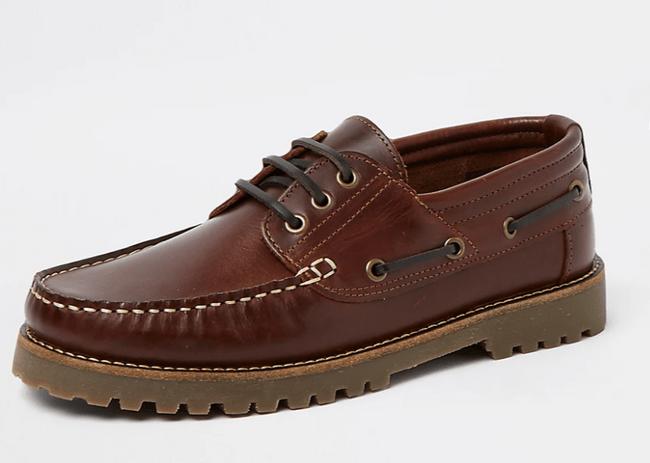 River Island 棕色皮革帆船鞋