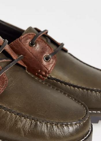 ASOS DESIGN 綠色皮革船鞋