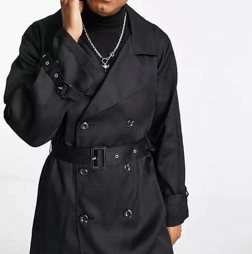 ASOS DESIGN 黑色雙排扣風衣
