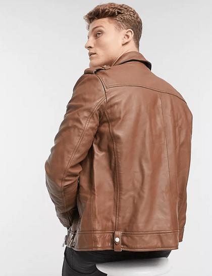 Asos Design 棕色皮革皮衣