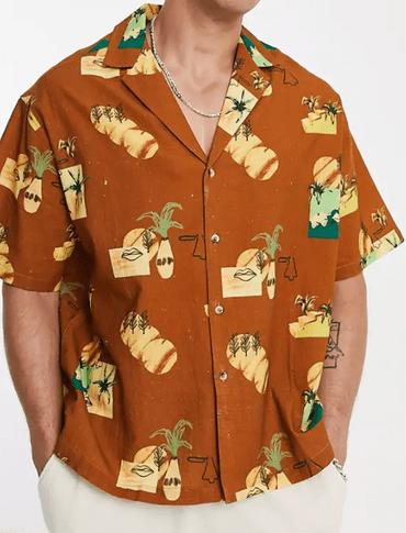 ASOS DESIGN 棕色印花襯衫