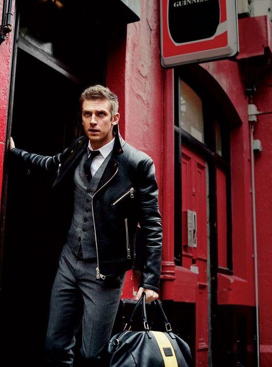 皮衣外套+西裝