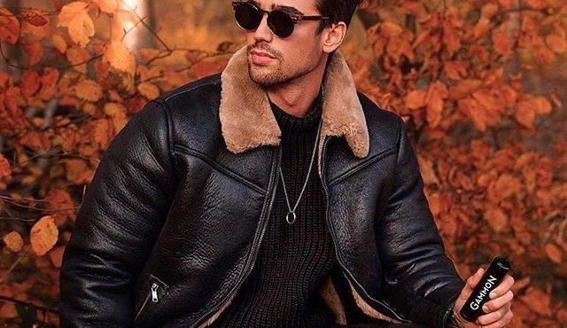 皮衣外套+針織毛衣