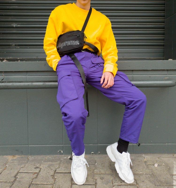 黃紫撞色穿搭