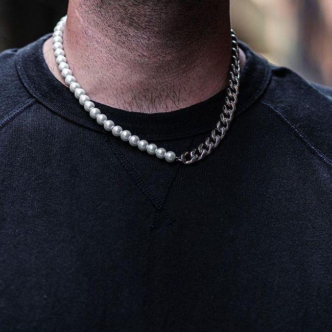 珍珠項鍊男穿搭