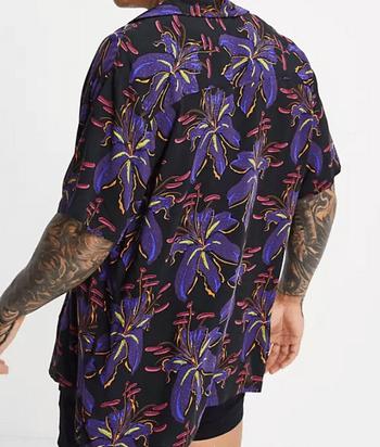 ASOS DESIGN 黑色花卉印花休閒 Revell 襯衫