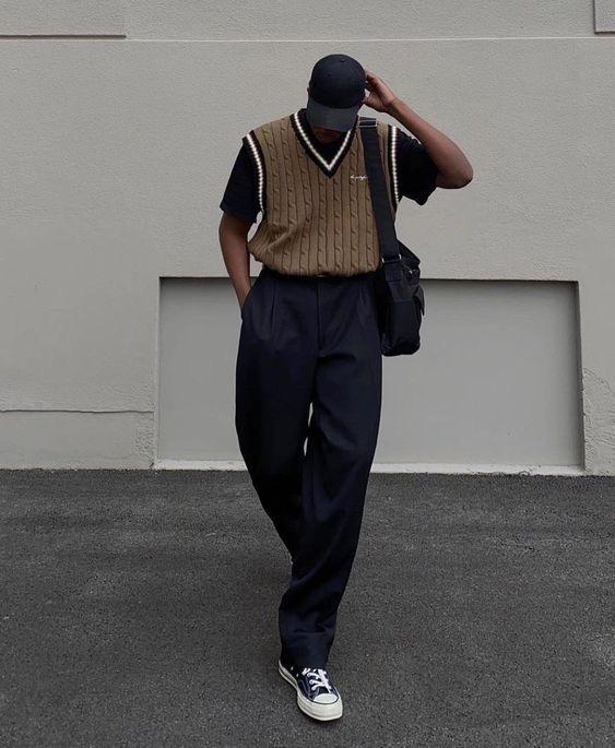 針織毛衣+帆布鞋穿搭