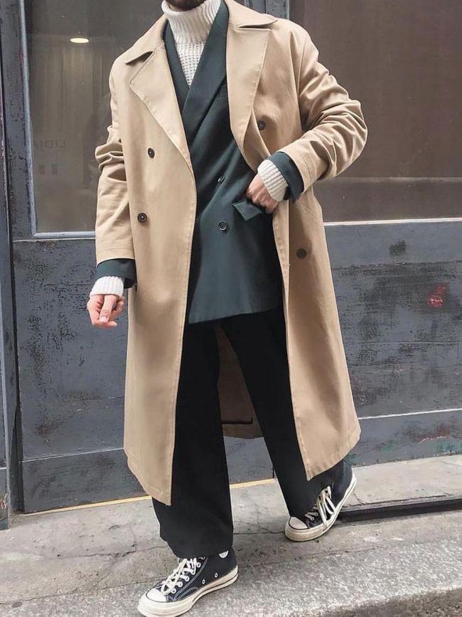 大衣外套+帆布鞋穿搭